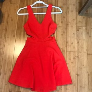 red mini dress with cutouts
